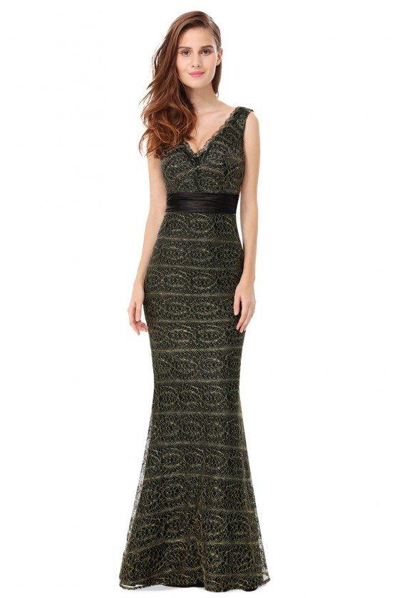 Sexy V-neck Long Black Lace Mermaid Prom Dress