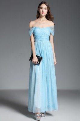 Blue Off Shoulder Long Chiffon Party Dress