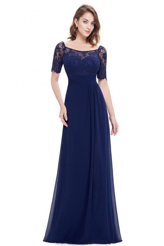 Navy Blue Slit Short Sleeve Prom Party Dress