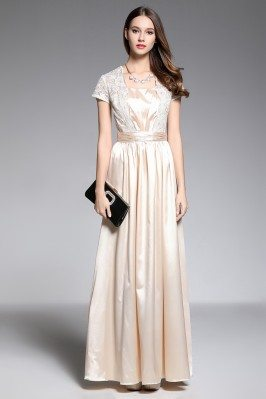 Lace And Satin Short Sleeve Evening Dress