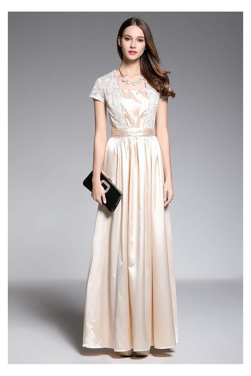 Lace And Satin Short Sleeve Evening Dress - $69 #CK603 - SheProm.com