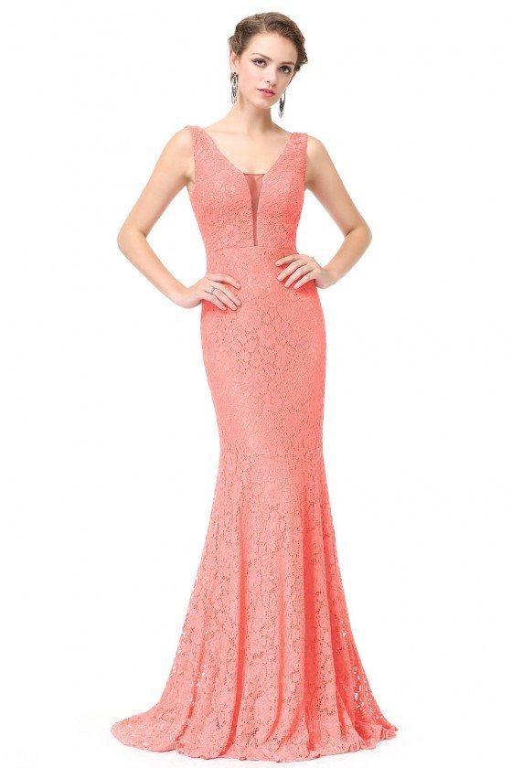 Peach Sexy V-neck Long Fishtail Evening Prom Dress