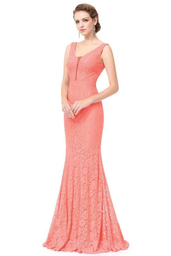 Peach Sexy V Neck Long Fishtail Evening Prom Dress 52 Ep08838pe
