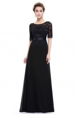 Black Lace Round Neck Long...