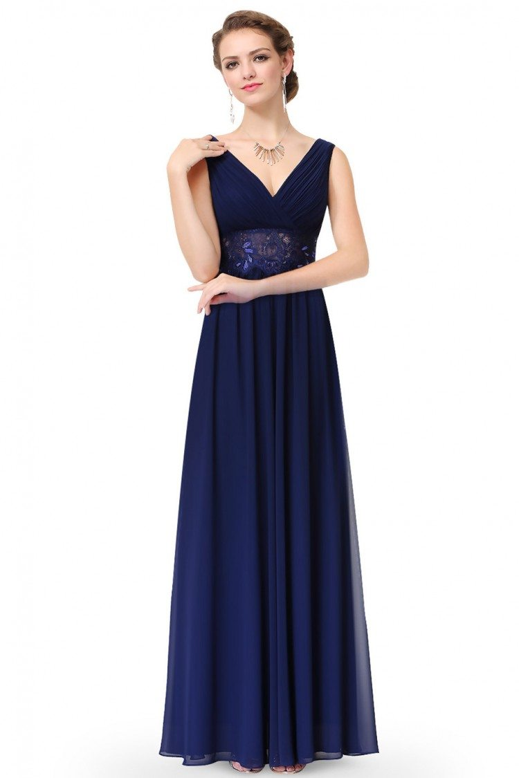 Navy Blue V-neck Sleeveless Long Evening Dress