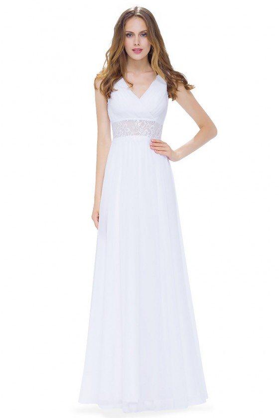White V-neck Sleeveless Long Evening Dress