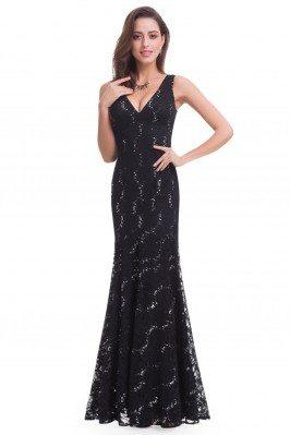 Black Lace V-neck Long...