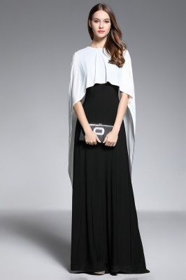 Two Piece Cape Style Black White Formal Dress