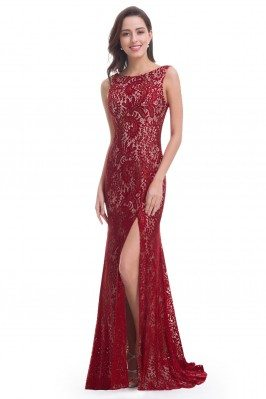 Burgundy Full Lace Slit...