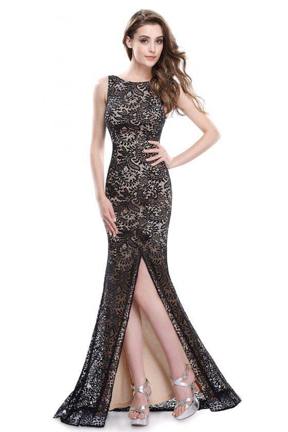 Black Full Lace Slit Mermaid Long Prom Dress