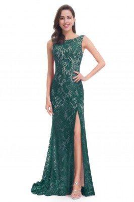 Dark Green Full Lace Slit...