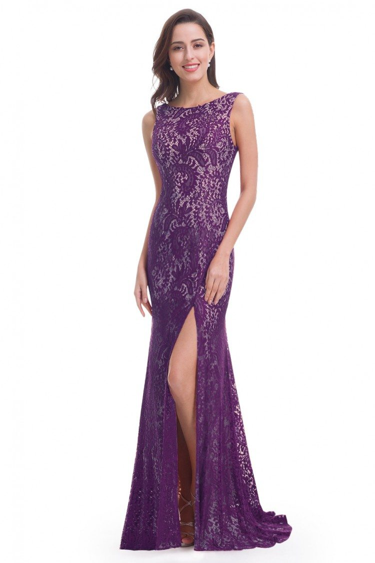dark purple full lace slit mermaid long prom dress 56