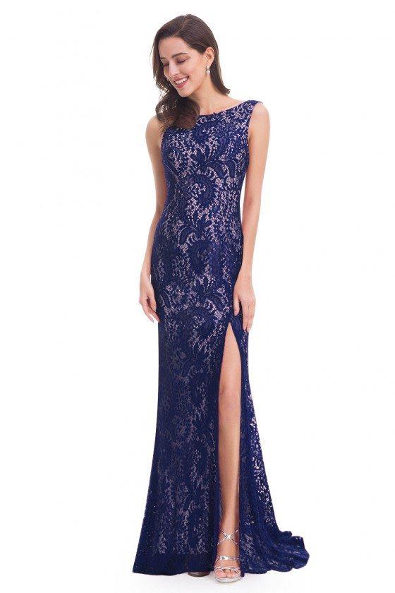 Navy Blue Full Lace Slit Mermaid Long Prom Dress