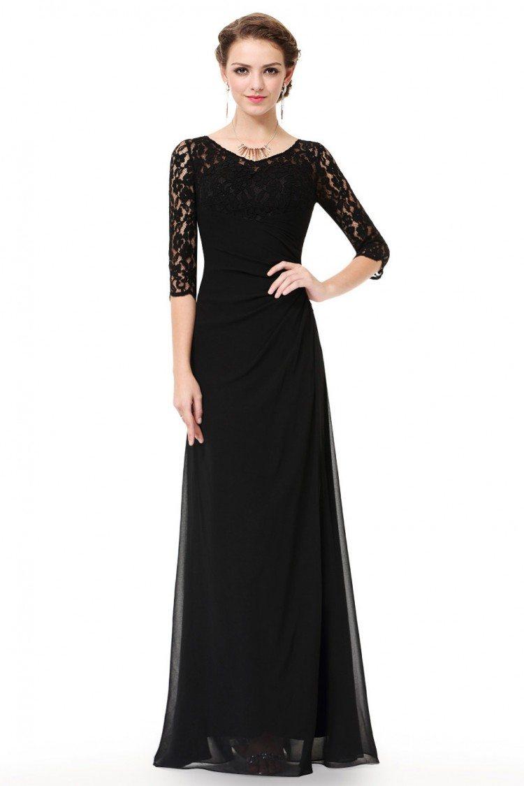 Black Lace 3/4 Sleeve Long Evening Dress - $56 #EP08861BK - SheProm.com
