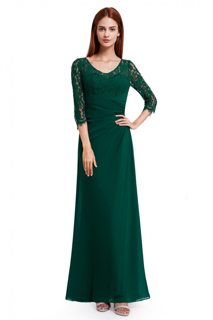 Dark Green Lace 3/4 Sleeve Long Evening Dress - $56 #EP08861DG ...
