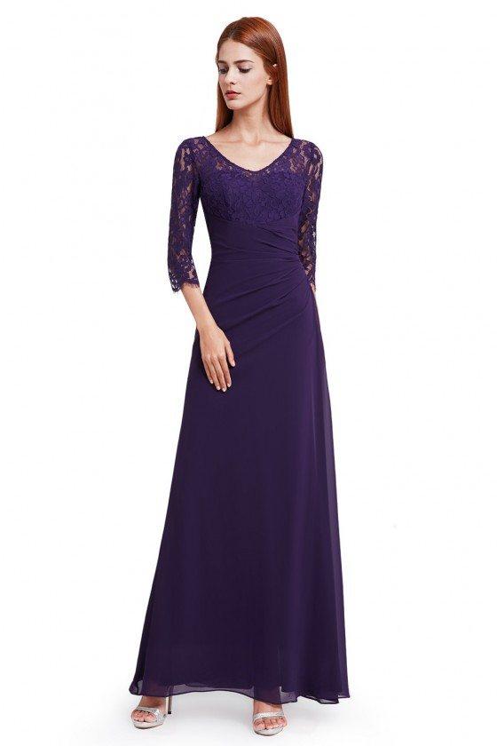 Dark Purple Lace 3/4 Sleeve Long Evening Dress