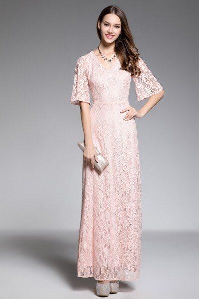 Pink V-neck Lace Short Sleeve Long Dress