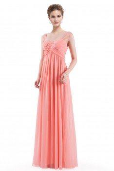 peach simple corset back long evening dress  56