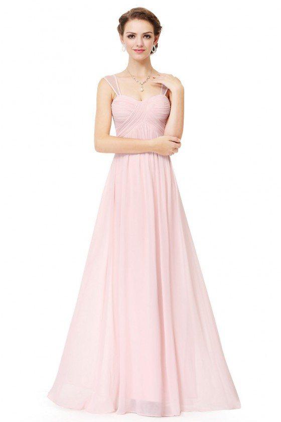 Pink Simple Corset Back Long Evening Dress
