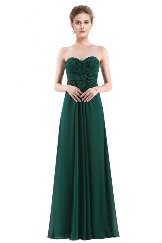 Dark Green Chiffon Strapless Long Evening Party Dress