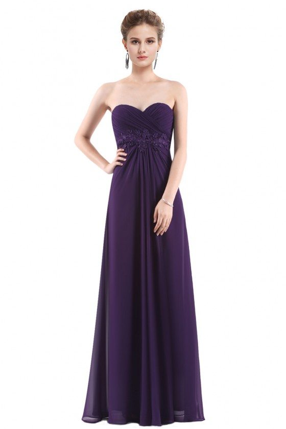 Dark Purple Chiffon Strapless Long Evening Party Dress
