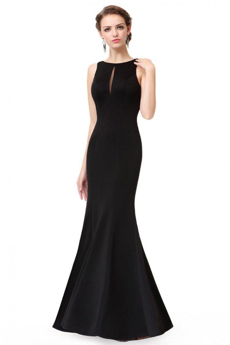 Simple Black Sleeveless Long Mermaid Evening Dress