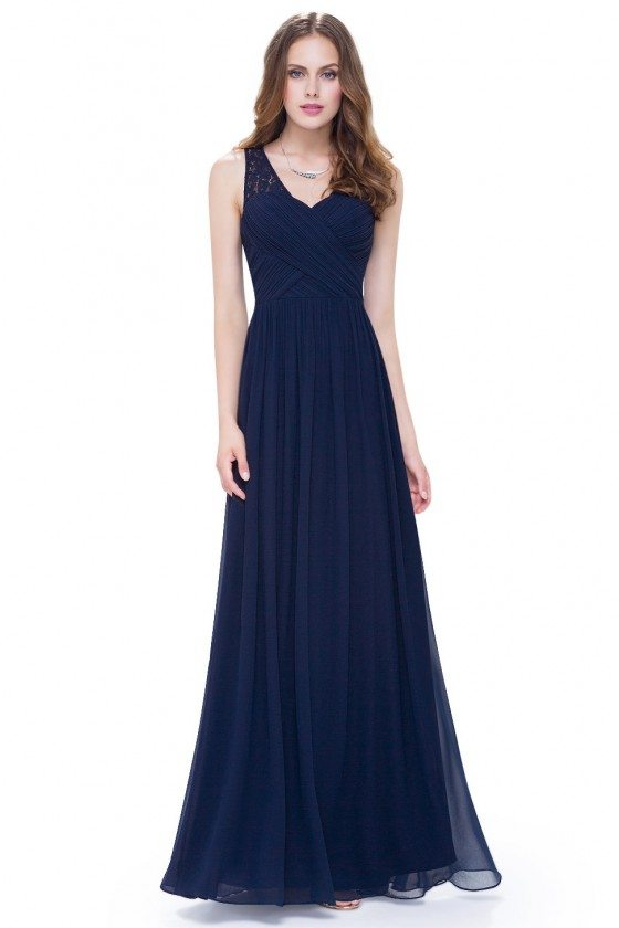 Women's Navy Blue V-Neck Long Chiffon Evening Party Dress