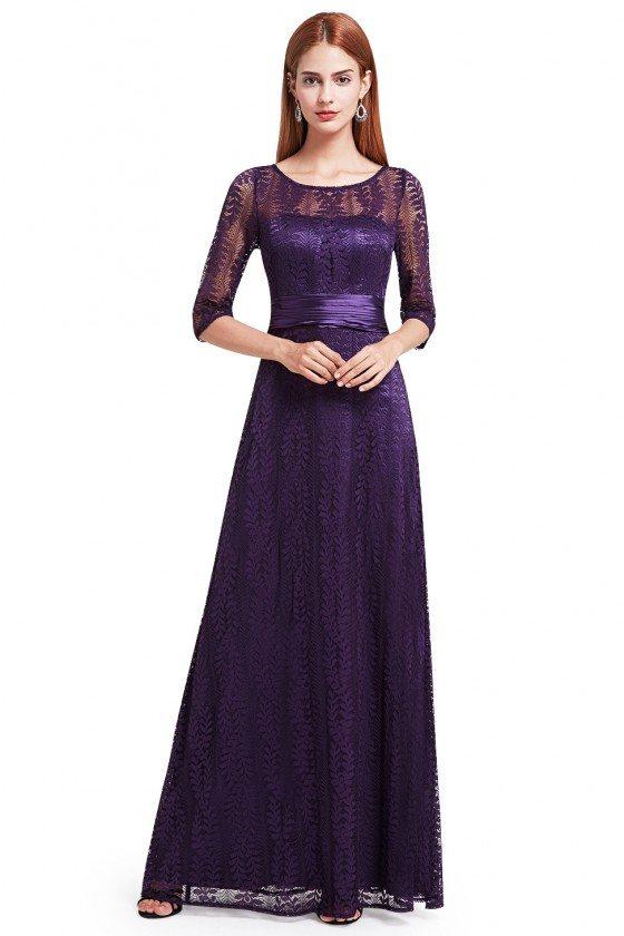 Dark Purple Lace Half Sleeve Long Prom Party Dress