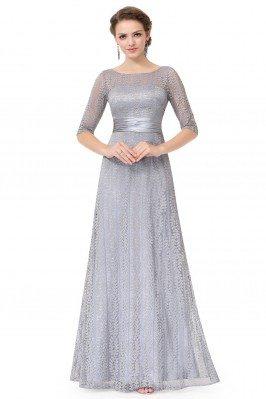 Grey Lace Half Sleeve Long...