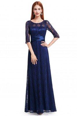 Navy Blue Lace Half Sleeve...