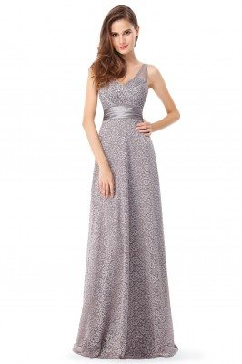 Grey Lace Sleeveless Long...