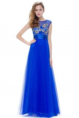 Royal Blue Tulle Round Neck...