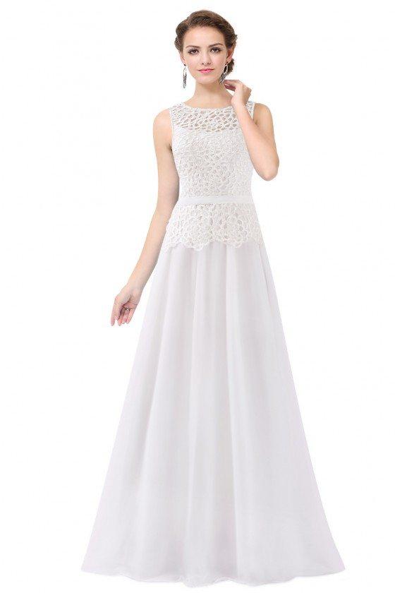 White Sleeveless Lace Long Party Dress
