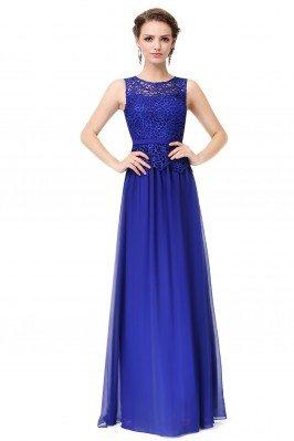 Royal Blue Sleeveless Lace...