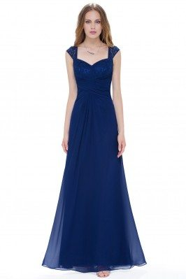 Navy Blue Chiffon Long...