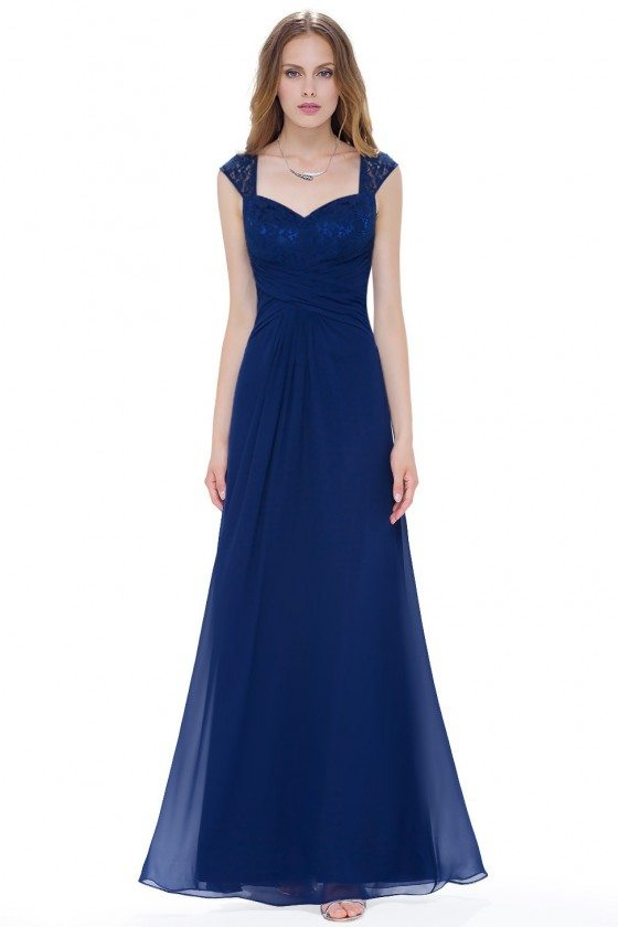 Navy Blue Chiffon Long Evening Party Dress
