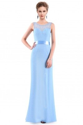 Blue Sleeveless Lace Long...