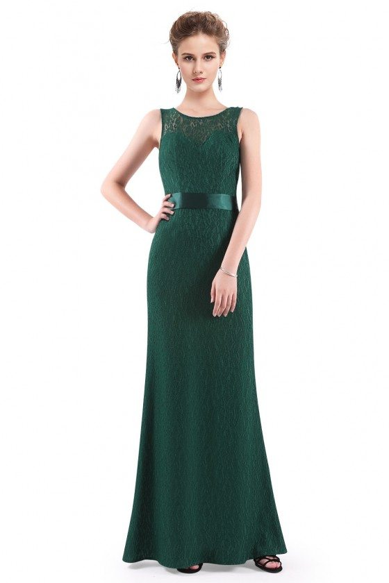 Dark Green Sleeveless Lace Long Evening Party Dress