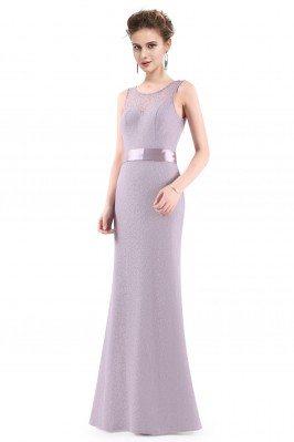 Grey Sleeveless Lace Long...