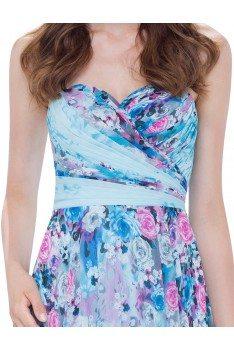 Blue Floral Strapless Dress