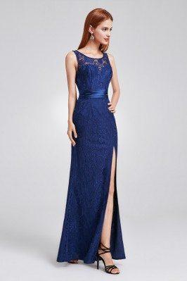 Navy Blue Full Lace Slit...