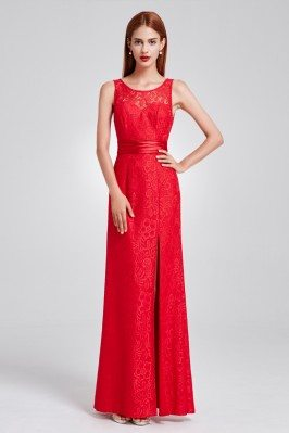 Red Full Lace Slit Formal...