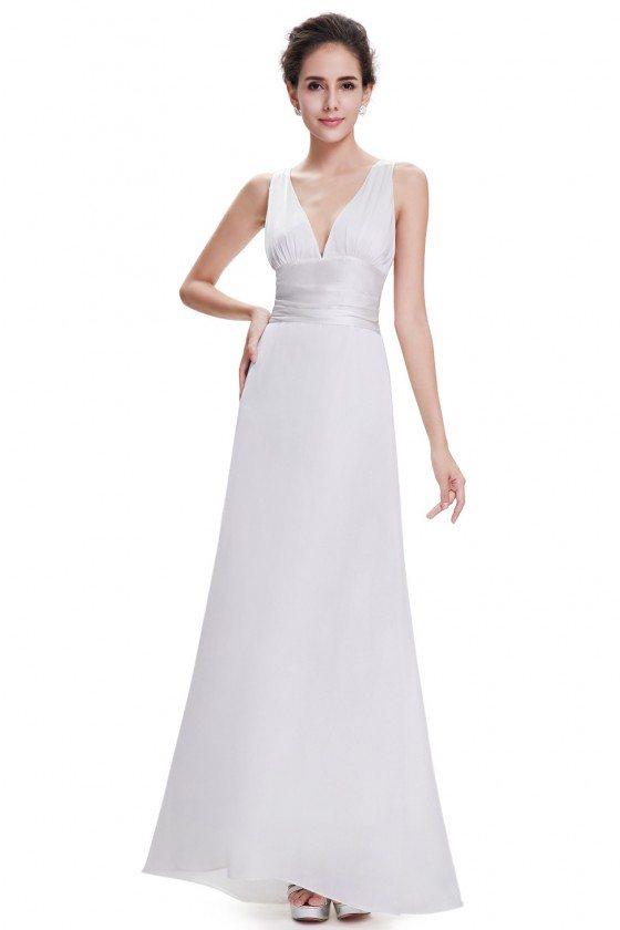 White Sexy V-neck Chiffon Evening Dress for Formal
