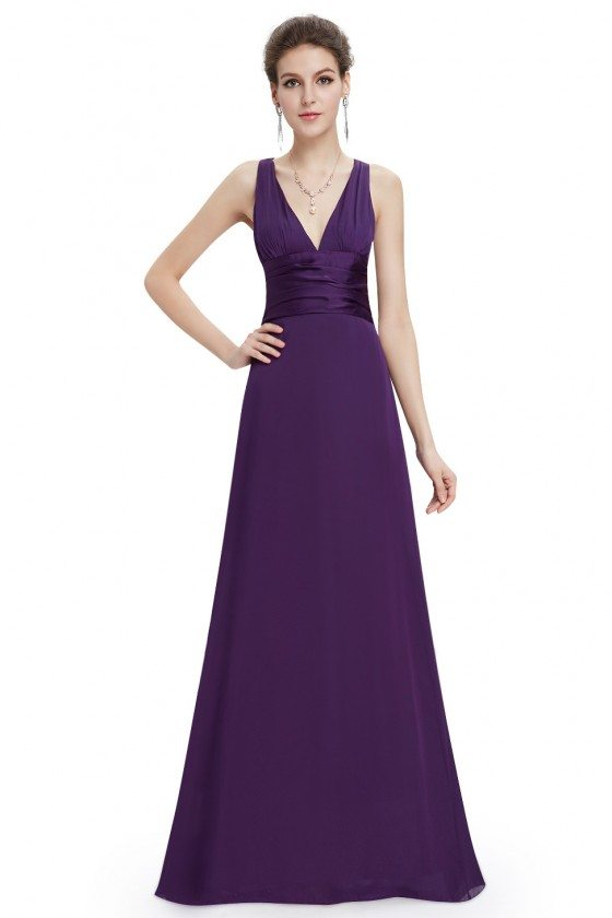 Dark Purple Sexy V-neck Chiffon Evening Dress for Formal