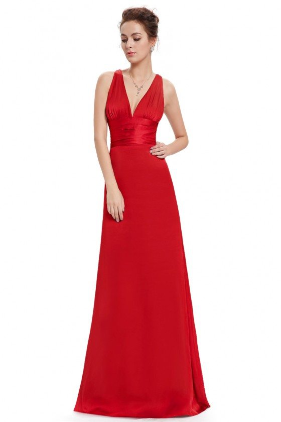 Red Sexy V-neck Chiffon Evening Dress for Formal