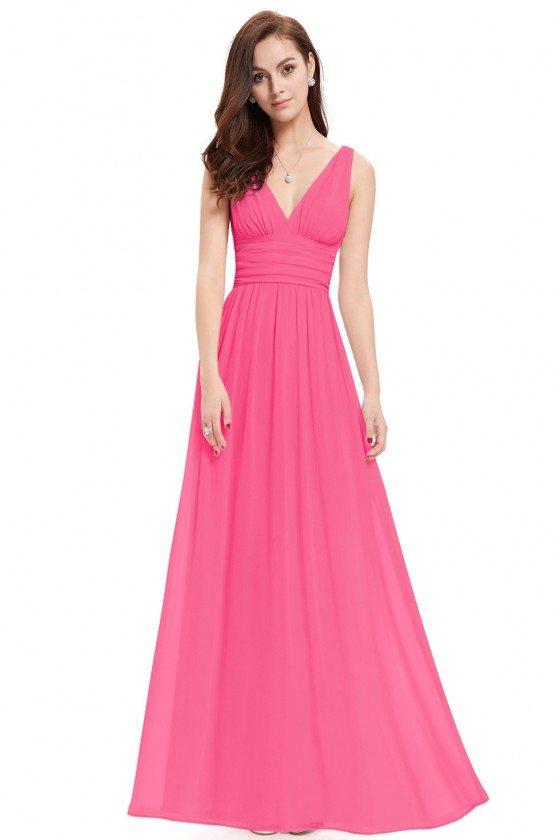 Simple Hot Pink Double V-Neck Chiffon Evening Dress