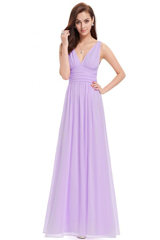 Simple Lavender Double V-Neck Chiffon Evening Dress