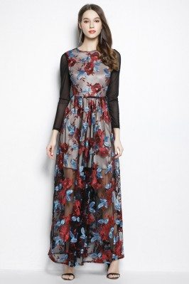 Embroidery Organza Long Sleeve Party Dress