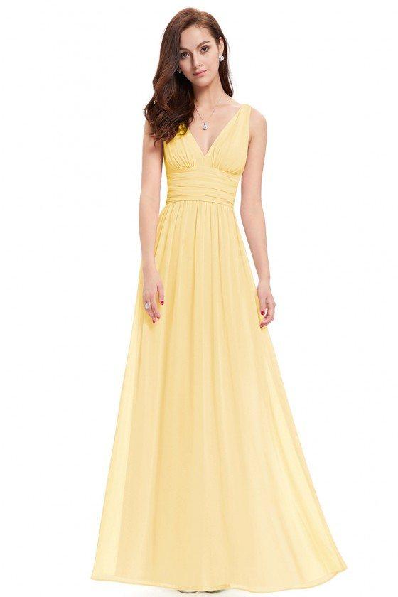 Simple Yellow Double V-Neck Chiffon Evening Dress