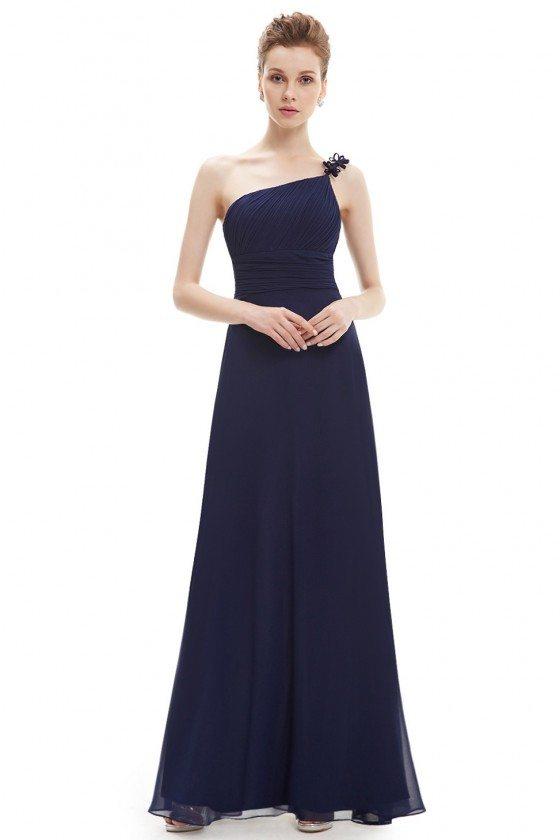 Navy Blue One Shoulder Flower Ruffles Chiffon Formal Dress